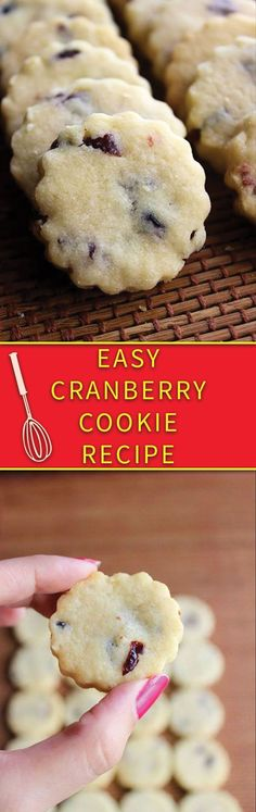 holiday treats Easy Cranberry Cookie Recipe - eggless simple butter cookies with cranberries, just few simple ingredients. Cranberry Cookies, Cranberry Recipes, Holiday Cookies, Holiday Treats, Christmas Treats, Holiday Recipes, Cranberry Muffins, Cranberry Sauce, Christmas Recipes