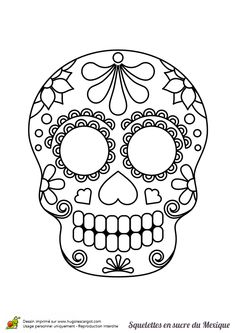 Coloring mexican skull: 20 drawings to print Skull Coloring Pages, Halloween Coloring Pages, Colouring Pages, Halloween Door Decorations, Halloween Crafts For Kids, Fall Halloween, Halloween Vintage, Day Of The Dead Diy, Moldes Halloween