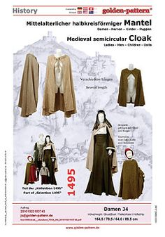 Mantel Cloak Schnittmuster Mittelalter golden-pattern Middle Ages Historical  Sewing Pattern