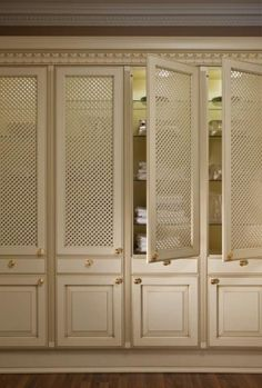 Elegant Classical Lattice Pantry Doors Made in Germany | Kitchen Cabinets - Leicht New York