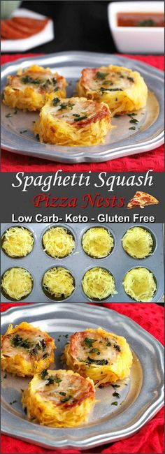 Spaghetti Squash Pizza Nests- Low carb gluten free and primal. Spaghetti Squash Pizza Nests- Low carb gluten free and primal. Source by heatherloberg Veggie Dishes, Veggie Recipes, Low Carb Recipes, Vegetarian Recipes, Cooking Recipes, Healthy Recipes, Recipes Dinner, Primal Recipes, Bariatric Recipes