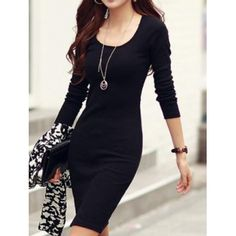 USD7.49Casual V Neck Long Sleeves Black Cotton Blend Sheath Knee Length Dress