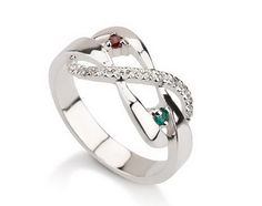Infinity Ring, 925 Sterling Silver Infinity ring, Promise Ring with Birthstones on Etsy, $31.99