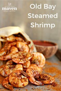 Make this classic Old Bay Shrimp in advance and chill. Serve with cocktail sauce… Make this classic Old Bay Shrimp in advance and chill. Serve with cocktail sauce or butter and watch these Boiled Old Bay Shrimp dissapear! via Everyday Maven Shrimp Appetizers, Shrimp Dishes, Shrimp Recipes, Fish Recipes, Whole Food Recipes, Cooking Recipes, Healthy Recipes, Delicious Recipes, Salmon Recipes