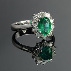 Ring in 18 kt gold with #emeralds of 1,15 ct and natural brilliant-cut white #diamonds of 0,55 ct. The #ring is available in white gold, rose gold, yellow gold but you can also customize carats, quality, and color of #gemstones. All our #jewelry are made in italy. Contact us for any particular request.