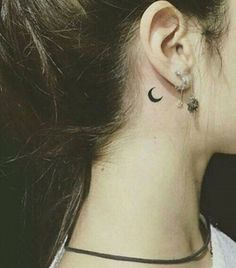 half moon back ear neck tattoo #necktattoos