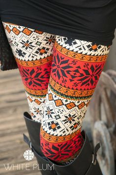Winter Floral Holiday Leggings