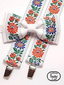 Doplnky - Folkový set traky a motýlik Kukučín - 6025117_ Folklore, Little Boys, Floral Tie, Hair Bows, My Style, Snails, Fabric, Bow Ties, Crafts