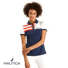 Pieced Flag Polo Shirt: What better way to celebrate both July 4th and the USA soccer team making it to the round of 16 in the 2014 World Cup than to make our product of the week the Pieced Flag Polo Shirt from Nautica. Check out more women's tops for summer on Nautica.com!
