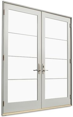 French doors exterior with built in blinds french doors for Marvin ultimate swinging screen door