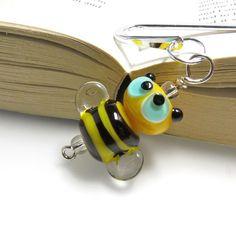 Bumble lampwork beaded bookmark. £8.50
