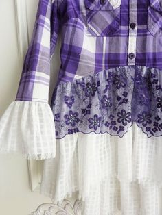 Fashion For Toddlers Girl Redo Clothes, Sewing Clothes, Remake Clothes, Denim And Lace, Purple Plaid Shirt, Altered Couture, Creation Couture, Shirt Refashion, Purple Lace