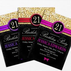 21st Birthday Glitter Gold Birthday Invitation / by PartyInkStudio, $11.00