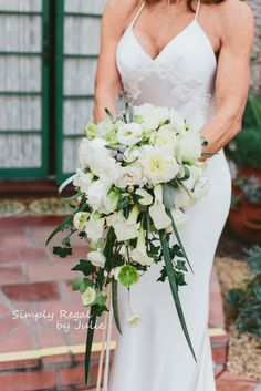 White Cascade Bridal Bouquet with Calla Lily, fresia, ivy, hellebore, lisianthus, garden roses - Simply Regal by Julie