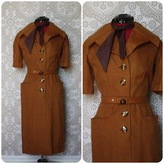 Vintage 1940's Lilli Ann Brown Wool and Mohair by pursuingandie