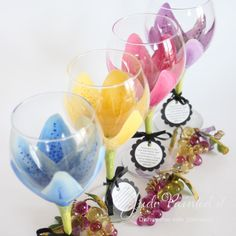 Stargazer painted wine glass in magenta pink