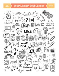 Hand drawn vector illustration of social media doodles elements. Isolated on white background. — Stockillustratie #24194789