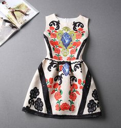 Vintage jacquard printed sleeveless dress DF32410KHU
