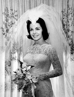 Annette Funicello's wedding day in 1965. She was married to her first husband, Jack Gilardi, from 1965 until 1981. They had three children: Gina (b. 1966), Jack, Jr. (b. 1970), and Jason (b. 1974). In 1986, she married California harness racing horse breeder/trainer Glen Holt. In 1992, Funicello announced that she had multiple sclerosis.  On April 8, 2013, she passed away from complications of the disease.