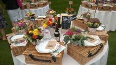 Picnic hampers on table wedding reception