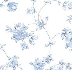 Blue and White Garden Floral Toile - Shabby Cottage, Floral, Garden, Chic Country, Cabbage Rose - Wallpaper By The Yard - so Blue Floral Wallpaper, Vintage Flowers Wallpaper, Toile Wallpaper, Flower Wallpaper, Floral Wallpapers, Vintage Wallpapers, Modern Wallpaper, Blue Shabby Chic, Shabby Chic Cottage