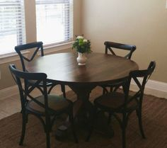 Round Farmhouse Table stained in Minwax Special Walnut.