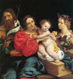 Lotto, La Vierge à l'Enfant avec Baptiste et Catherine, 1522