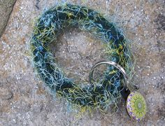 Wool Bracelet Keyring Dark Green with Yellow by AnOriginalByPeggy, $13.00