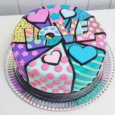 Romero Britto cake colors love