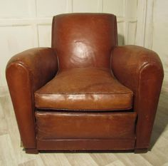 Antique Club Chairs, A French Shabby Leather Art Deco Club Chair. A French shabby Leather Art Deco Club Chair Leather Club Chairs, Leather Sofas, Leather Art, Brown Leather, Art Deco Hotel, Art Deco Posters, Brown Art, Antiques For Sale, Living Room Colors