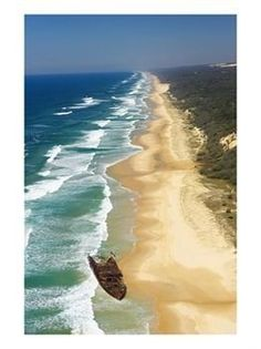 Fraser Island, Queensland, Australia (showing The Maheno shipwreck and Seventy Five Mile {Surf} Beach) Fraser Island Australia, Queensland Australia, Australia Travel, Western Australia, Oh The Places You'll Go, Places To Travel, Places To Visit, Tasmania, Gaia