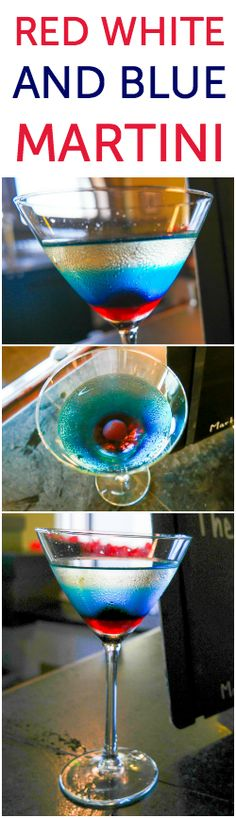 Red White and Blue Martini ~ Go on and impress your friends with your red white and blue martini skills, or pin it for later. This would make a cool drink for 4th of July or Veteran's Day as well!