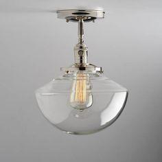 Angled Schoolhouse Glass Shade Flush or Semi-Flush Mount Light