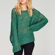 Draped Sleeve Emerald Sweater