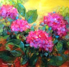 Summertime Dreams Hydrangeas and a New France Workshop - Flower Paintings by Nancy Medina, painting by artist Nancy Medina