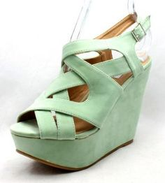 Ladies Pastel Mint Green Faux Suede High Wedge Heels Summer Party Shoes NEW