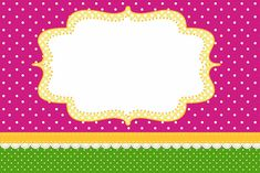 Poa rosado y verde - Kit completo con los marcos para las invitaciones, las etiquetas para golosinas, souvenirs y fotos! | Hacer Nuestro par...