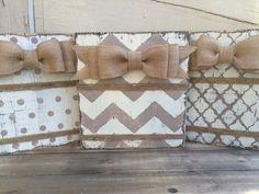 Rustic Wood Block Frame, Ivory Polka Dot Frame, 4 x 6 or 5 x 7 Frame, Burlap bow, Twine