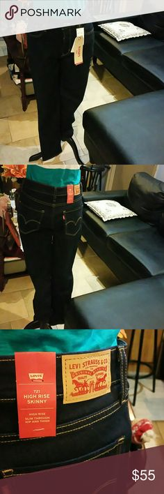 Levi's 721 High Rise Skinny Jeans Soft Feel. Skinny Dark Blue Jeans Levi's Jeans Skinny