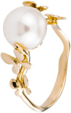 Pearl Engagement Ring White Freshwater Pearl 14K by PearlfectDay, $390.00