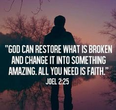 Faith ...to hear and hear His promises over and over continuously  in my heart in line with my mind that nothing is impossible with God, whatever happens, I still trust His heart, that He loves me and His word unfailing, His promises are unshaken.