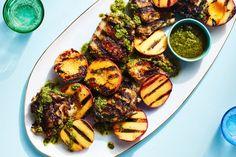 3-Ingredient Pesto-Grilled Chicken with Peaches recipe | Epicurious.com Pork Rib Roast, Seared Pork Chops, Pork Ribs, Peach Pork Chops, Nectarine Recipes, Fruit Soup, Braised Brisket, Pork Salad, Juicy Fruit