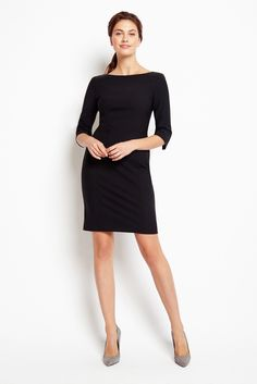 Of Mercer | Madison Sleeved Dress in Black | Front View