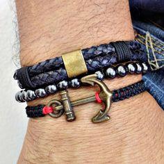 kit 3 pulseiras masculinas couro ancora hematita bracelet man men's fashion