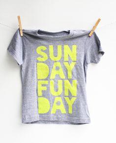 Sunday Funday- kid's hand printed t-shirt
