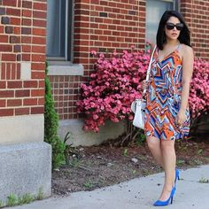 Blue & Orange Sleeveless Dress Worn once. Colorful printed dress. Lined. From a boutique. Brand is three eighty two. Dresses