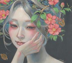 Delicate Japanese Oil Paintings of Ethereal Woman Submerged with Nature Artist Miho Hirano's oil paintings communicate a delicate beauty through the use of soft colors and fluid brushstrokes. Featuring ethereal woman and fragments of the natural. Art And Illustration, Fantasy Kunst, Fantasy Art, Painting Inspiration, Art Inspo, Art Asiatique, Japanese Artists, Asian Art, Female Art