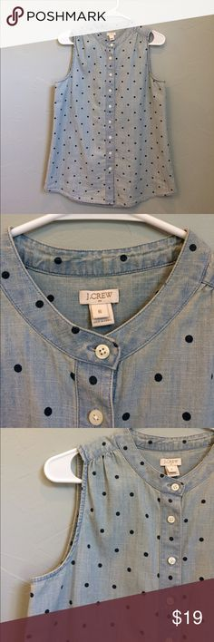 J. Crew light denim top Finish out the summer with this great denim top. Dark denim dot. Cut back shoulder. Tunic length that'll look great with leggings. J. Crew Tops Tunics