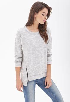 Marled Knit Zippered Top #F21Contemporary