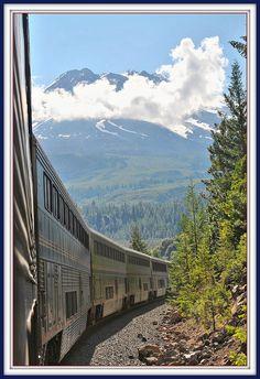 train ride in California, passing Mt. Shasta